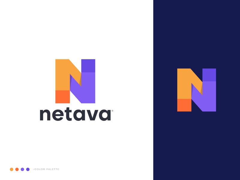 Netava Logo Design logotypes lettermark typeface n logo vector icon mark symbol geometry clever flat logo technology isometric geometrical advertising logo designer abstract construction logo building branding bolt block 3d