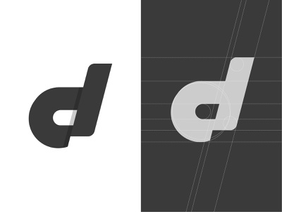 D  + Grid Minimal Logo logodesigner symbol monogram minimal mark logo lettermark icon golden ratio branding