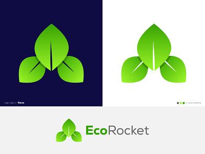 EcoRocket Logo logos logo designer nature ecology eco friendly vector icon mark symbol icon design lettering logomark logotype rocket eco gradient modern creative branding agency app logo abstract logo 3d logo branding