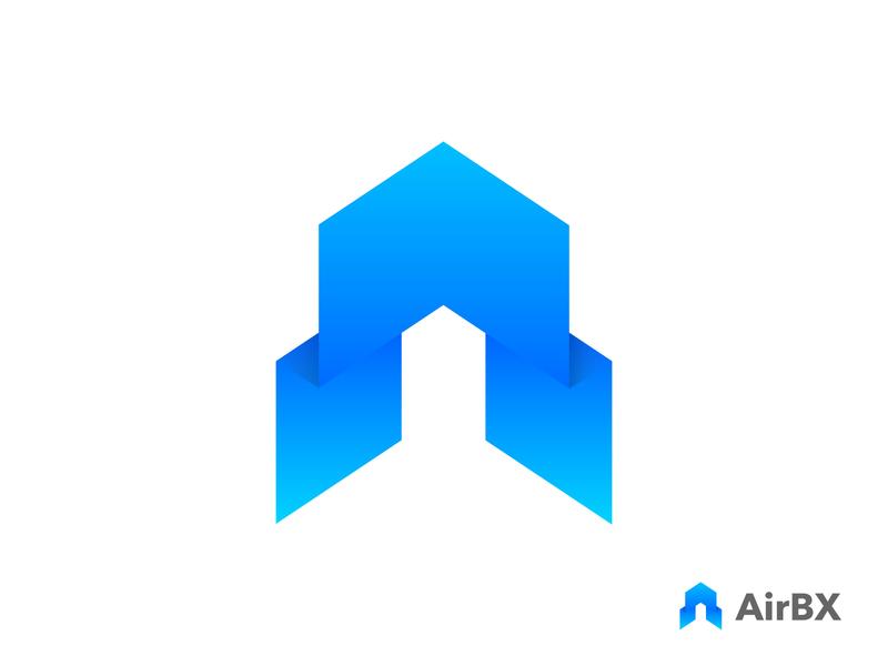 AirBX Logo Design graphic gradient vector icon mark symbol letter mark icon rocket agency app logo air logo mark a logo logo designer branding