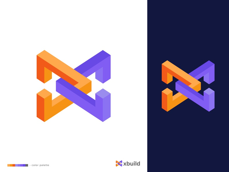 xBuild Logo Design clever color schemes logo designer vector icon mark symbol x logo logotype logo design lettermark isometric geometrical flat logo geometric construction build bold block advertising abstract 3d branding