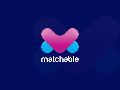 Matchable - Logo Design colorful vector icon mark symbol 3d abstract modern logo logo mark identity designer design match online dating dating date love logo designer logo branding brand application app