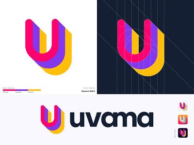Uvama Logo Design | U letter logo design u logo u letter u trend technology symbol software logo unique logo modern logo minimal logo mark logo design gradient company business branding brand identity app icon app abstract