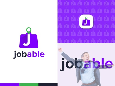 Jobable Logo Design typeface letter icon logotype vector icon mark symbol able location mark logo flat modern logo job icon design logo identity logo designer branding and identity branding simple minimal abstract 2d