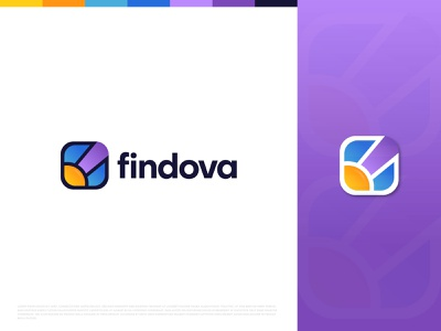 Findova job site abstract logo mark logo design finding find job searching colorful unique branding app creative modern icon technology job find design business magnifying glass