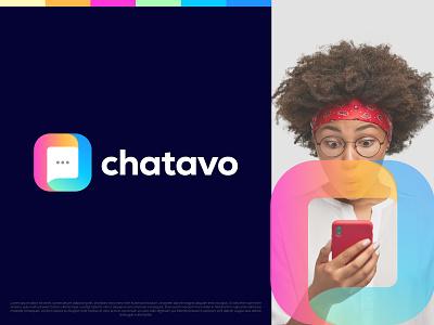 Chatavo community social network connection chat bubble identity modern logo abstract dating logo messaging app conversation talk message gradient logo symbol logo mark letter o box chat branding logo