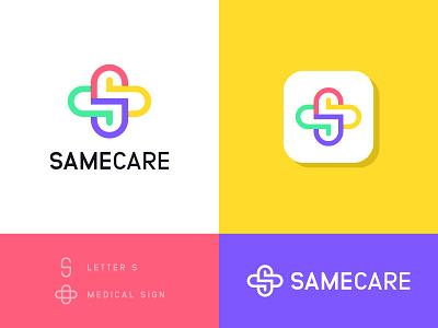 SameCare Logo Concept vector health care symbol business s medical care logo logotype mark digital abstract app logo modern creative clever simple minimal logo designer logo branding