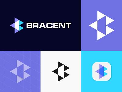 Bracent - Logo Design b letter b logo designer logotype brand triangle geometric icon mark symbol modern logo app logo overlapping overlay creative simple monogram logo branding
