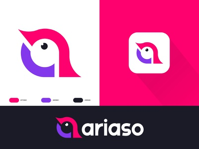 Ariaso - Logo Design conversion talk negativespace grid minimal simple dribbble shots vector icon animal creative bird symbol letter a mark clever bird logomark logotype branding designer logo