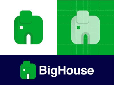BigHouse minimal mark icon symbol simple flat elephant logotype logo designer illustration big house animal branding logo