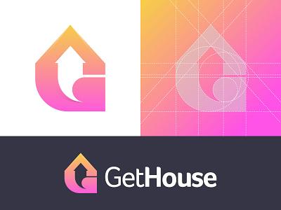 GetHouse modern creative logo arrow icon logo negative space logo logo presentation grid logo vector gradient app logo symbol letter mark logotype service home house logo brand and identity branding