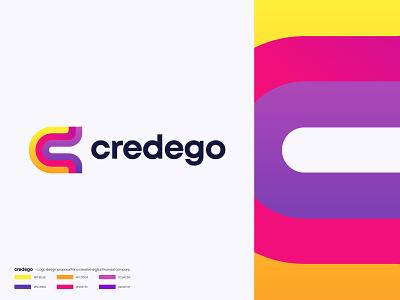 Credego - Logo Design modern logo design brand and identity colors freelance work creative financial company app logo symbol letter c mark 3d graphic design branding logo designer design vector gradient abstract logomark logotype logo
