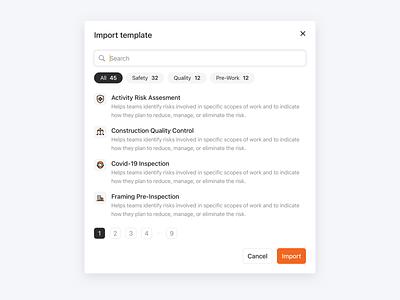 Template import import templates modal interface ui design ui