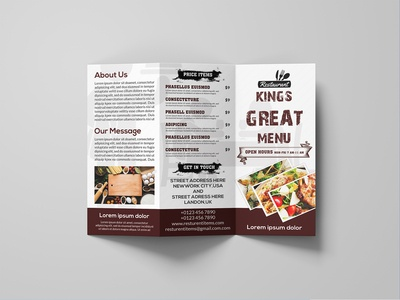 Tri fold Resturent brochure Design