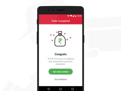 Order Completed - Quickli Runner App layout material design clean interface mobile design ux ui