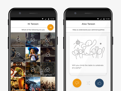 Personality App - Welcome android mobile interface design ux ui
