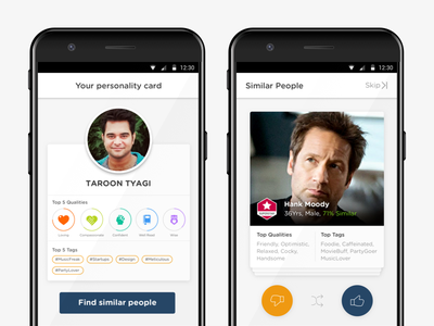 Personality App - You & Similar material card ui android mobile interface design ux ui