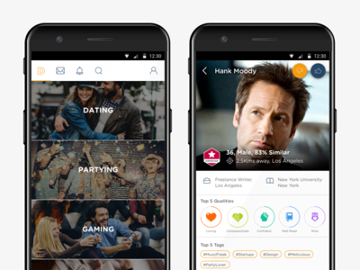 Personalty App - Discover People material card ui android mobile interface design ux ui