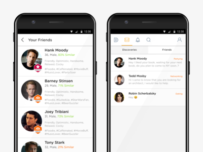 Personality App - Friends & Discoveries material card ui android mobile interface design ux ui