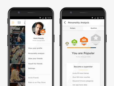 Personalytics material card ui android mobile interface design ux ui