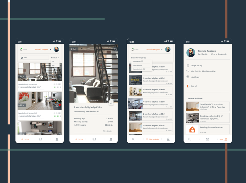 App design - BoligPortalen (Rent Apartments, rooms, and house) 2020 design rooms flat rental redesign ux ui appdesign app xd design