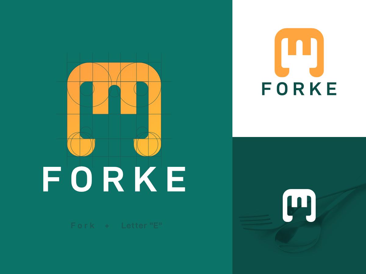 Forke Logo Design Exploration fork logo logo presentation exploration concept logo designer e logo monogram branding clever logo logo design