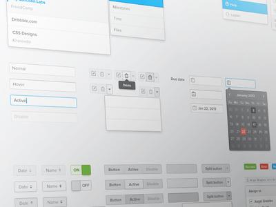 FreedCamp UI Kit input boxes textarea checkbox radio toggle switches dropdown form scrollbar split dropdown icons tooltip pill buttons progress bar tags notification windows loading pagination pakistan