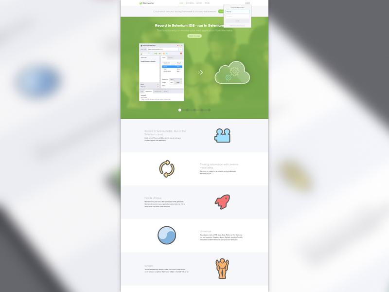 Nerrvana Home Page pakistan nerrvana ui design icons selenium php python java ruby perl