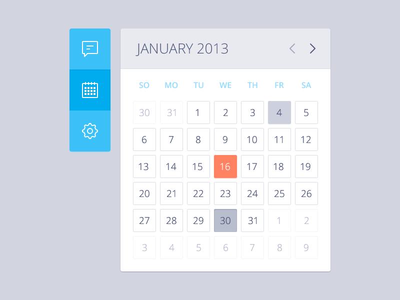 Actual pixels calendar