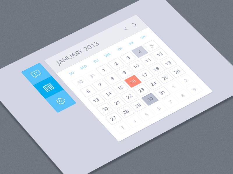 Calendar calendar left bar left nav icons chat settings blue date ui design ui buttons freebie pakistan