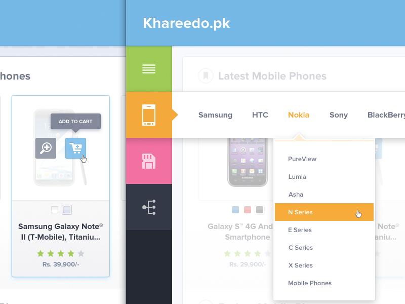 Khareedo ui design ui buttons icons dropdown side bar navigation khareedo.pk khareedo thumbnail mobile iphone memory card offer blue green orange pink pakistan