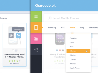 Khareedo ui design ui buttons icons dropdown side bar navigation khareedo.pk khareedo thumbnail mobile iphone memory card offer blue green orange pink pakistan