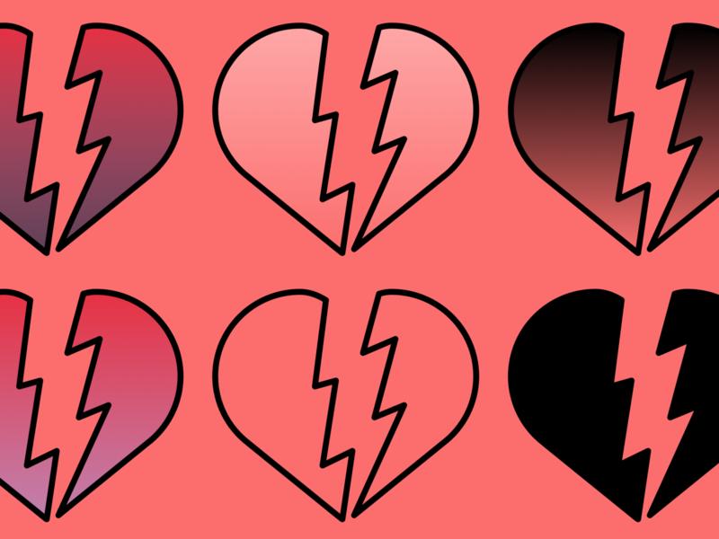 heartbroken minimal icon branding logo design