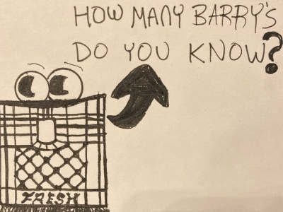 How many Barry's do you know? typography sketch ink illustration hand drawn design