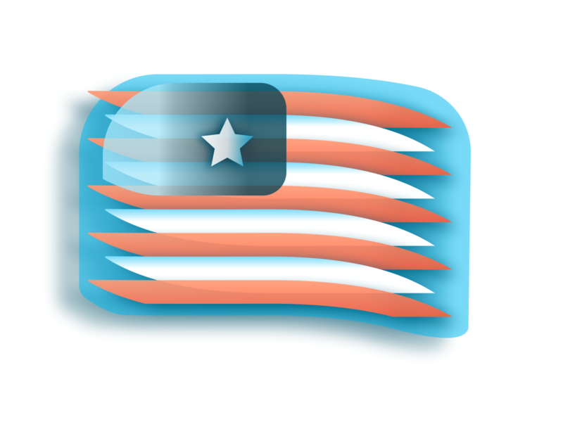Star + Loops sketch flag logo icon faux 3d user usa flags flag design