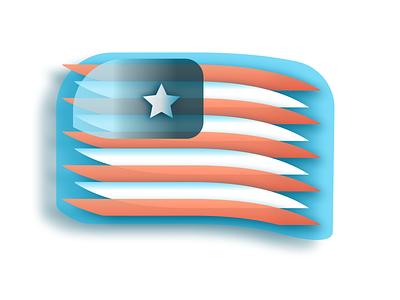 Star + Loops sketch flag logo icon faux 3d user usa flags flag design