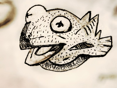 Kermit the Fish pencil drawing ink drawing illustration mike mignola fish muppet the frog kermit