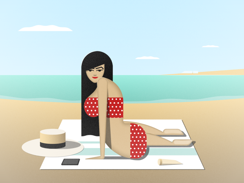 Beach Girl illustrator retro simple minimalist illustraion seattle illustrations illustration illustration digital illustration art