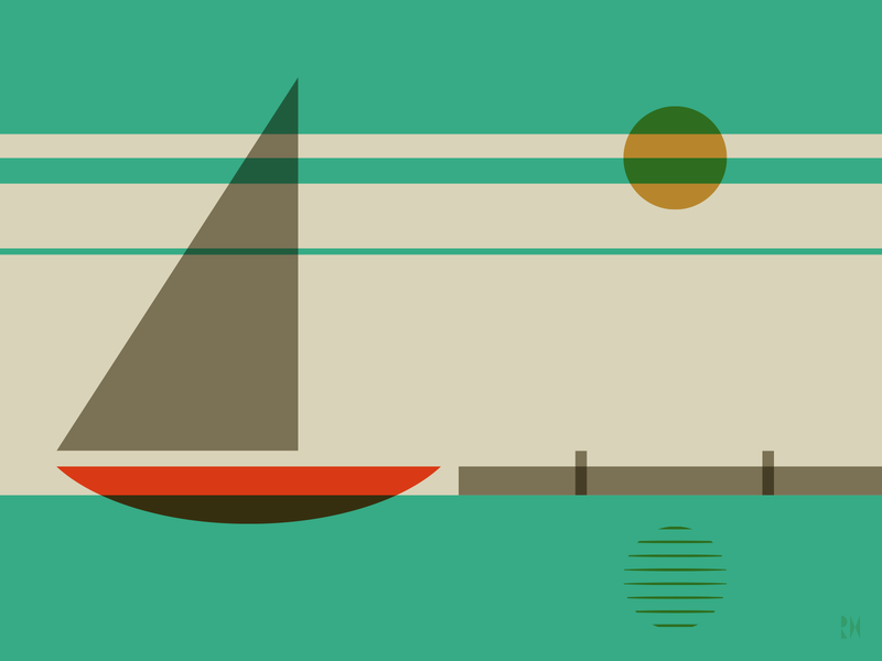 Sailboat illustrator retro simple minimalist illustraion seattle illustrations illustration illustration digital illustration art