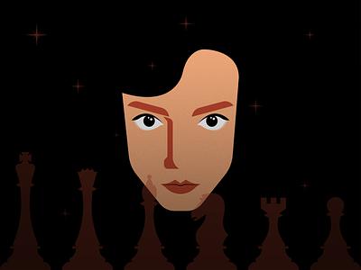 Queen's Gambit illustrator retro simple minimalist illustraion seattle queensgambit illustrations illustration illustration digital illustration art