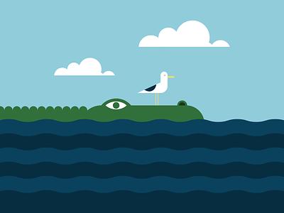 Gator & Gull gull gator sea illustrator retro simple minimalist illustraion seattle illustrations illustration illustration digital illustration art