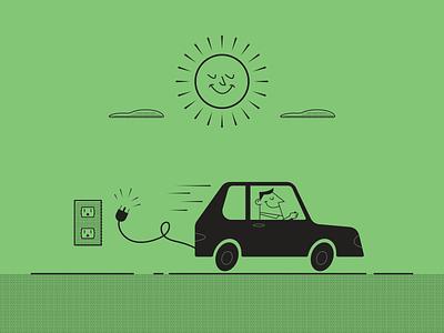 Electric Car electric car greenenergy car electric retro simple minimalist illustraion seattle illustrations illustration illustration digital illustration art