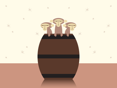 Not So Fun Barrel of Monkeys illustrator retro simple minimalist illustraion seattle illustrations illustration illustration digital illustration art