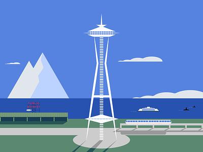 Seattle minimalist illustraion seattle illustrations illustration illustration digital illustration art
