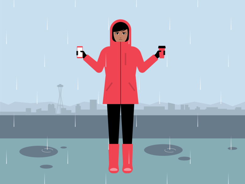 Seattle rubber boots cell phone coffee gortex rain seattle