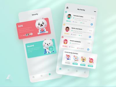 Family360 UI safety card family design app ui