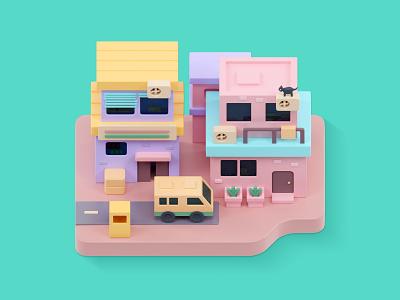 3D island map design c4d blender design illustration island game map ui 3d animation