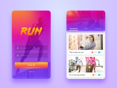 2017#Shot6 Running APP Login&Dynamic ui team singin social running red login data color dynamic card app