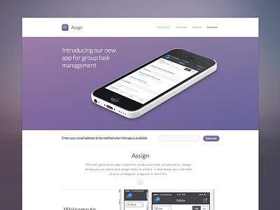 Assign - iOS Marketing Site web ios ios marketing site site ux landing web design iphone ui design flat clean