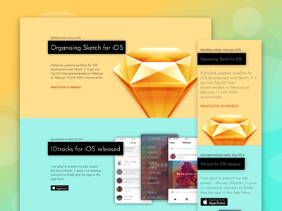 Designer Timeline - Responsive Preview sketch yellow saturation product landing colors
